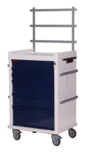 MRT Anästhesie-Rollwagen mit 6 Schubladen und Notfallpaket
