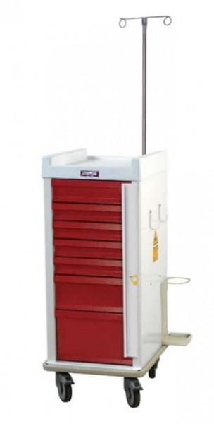 MRT Notfall-Rollwagen mit Notfallpaket und 7 Schubladen (schmal)