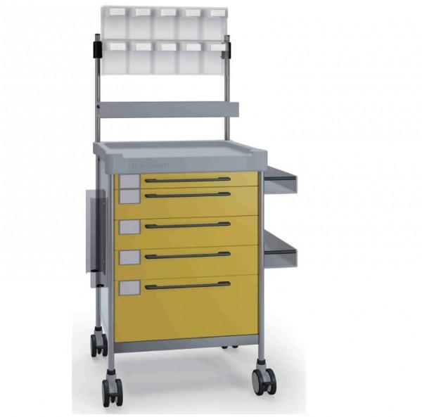 MRT Anästhesie-Rollwagen (Farbe blau), inklusive Abfallbehälter und Infusionsständer mit einem Hacke